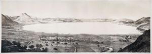 Vista sul lago del Fucino in una raffigurazione storica