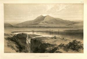 Antica stampa che raffigura il lago e i monte Velino sullo sfondo