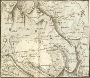 Carta storica del Lago del Fucino con principali centri popolati